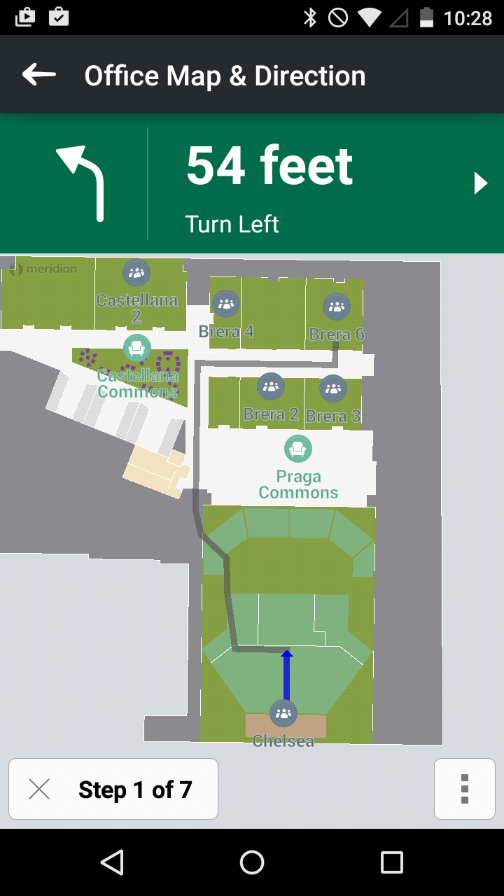 Office gps map with turn directions in Robin