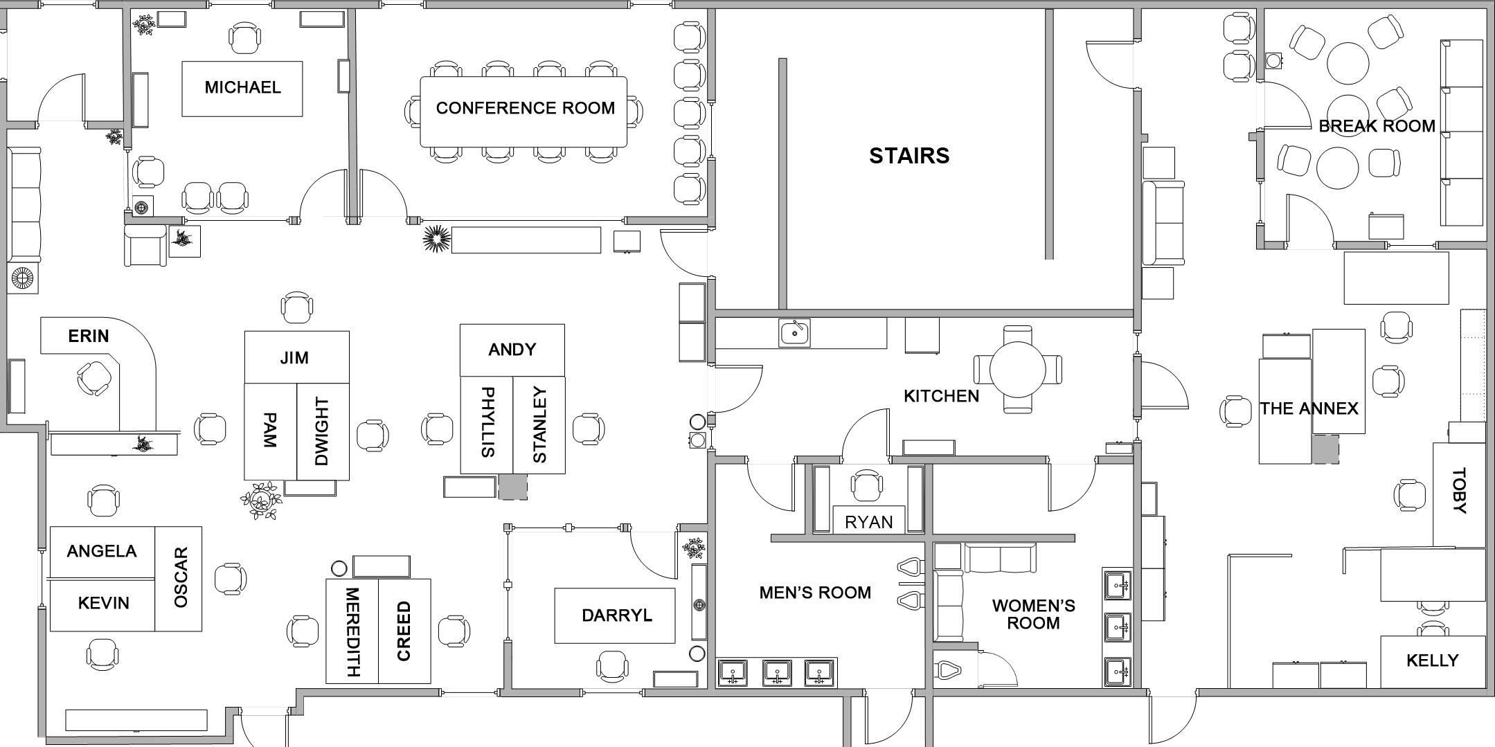 The Dunder Mifflin floor plan