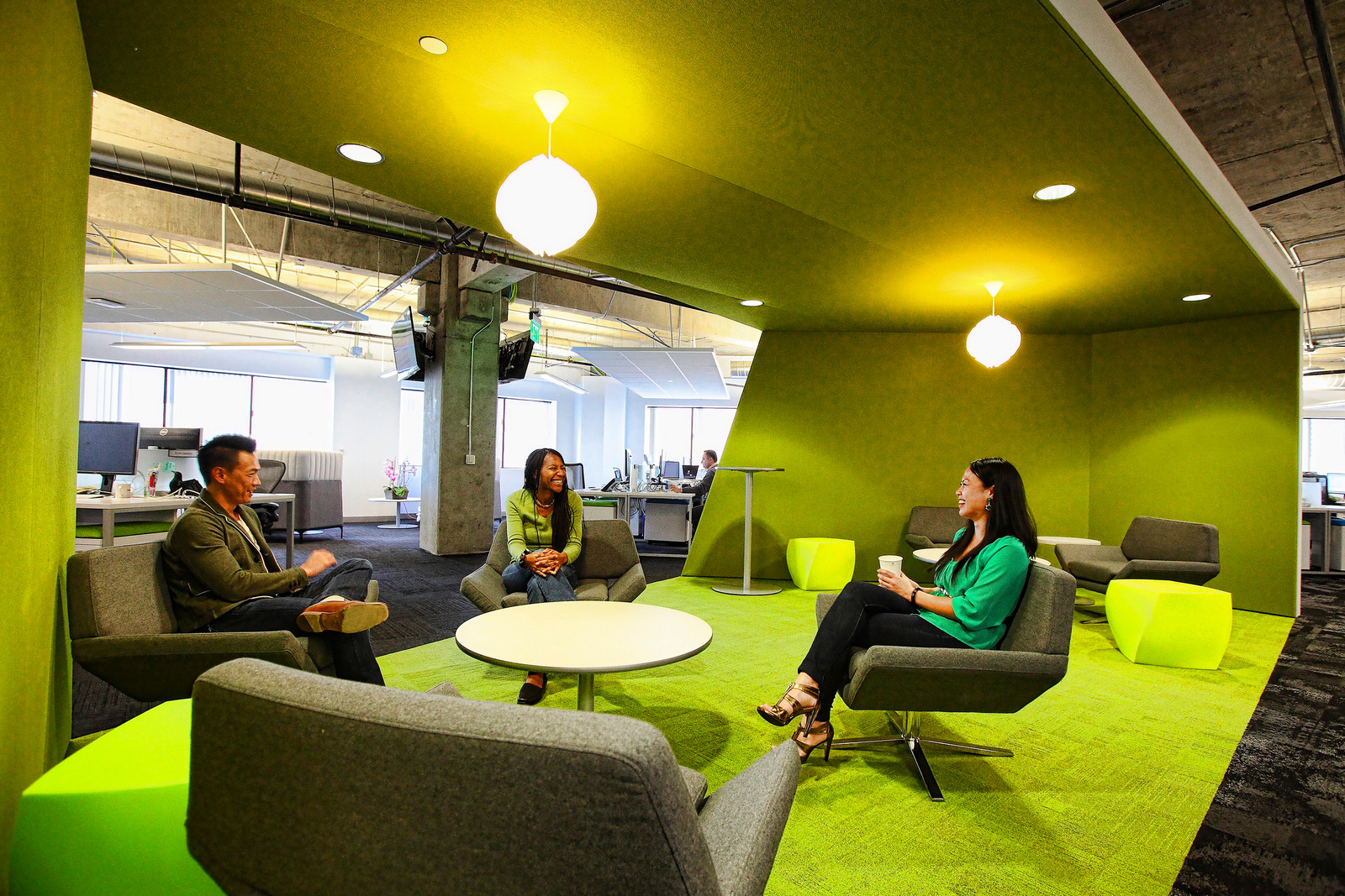 App Dynamic's office green breakout area meeting