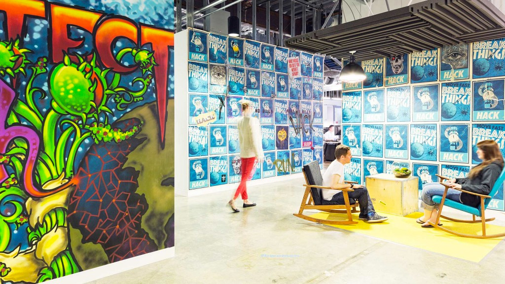 Facebook's rocking chair and poster heavy breakout space