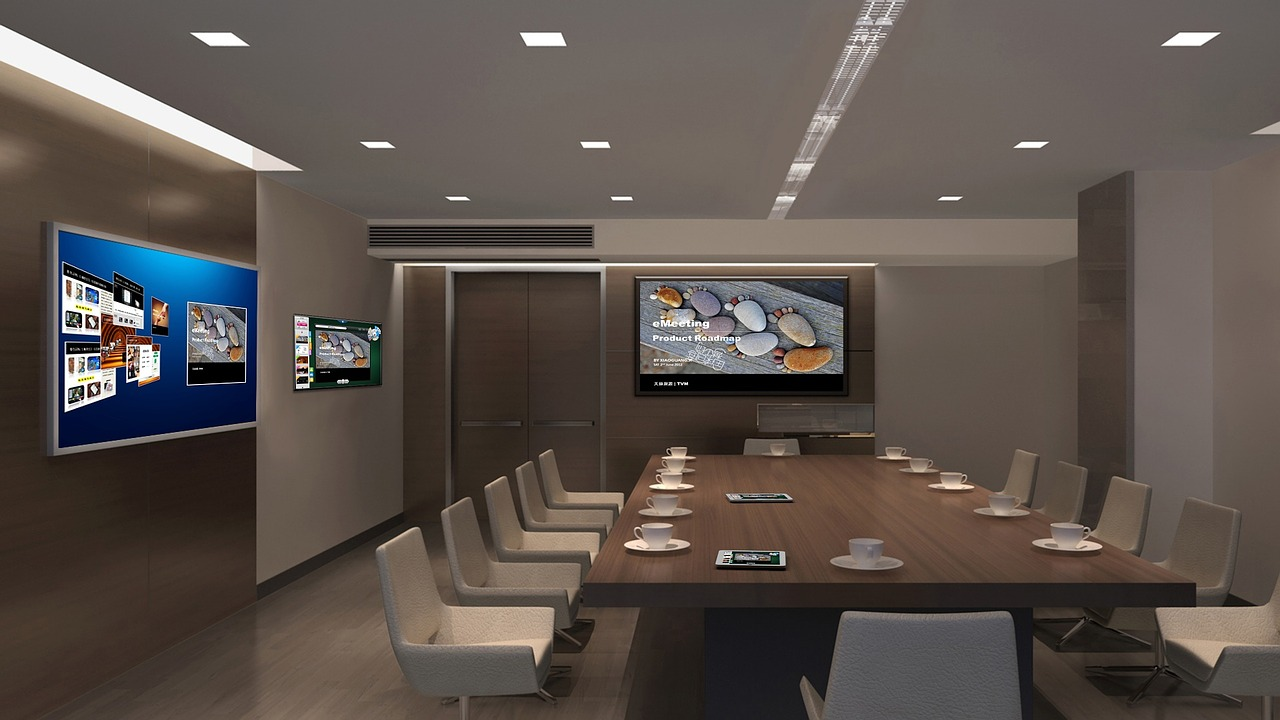 High tech conference room equipment render