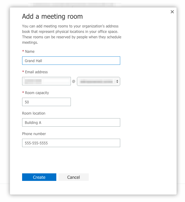 Add a new room calendar in Microsoft