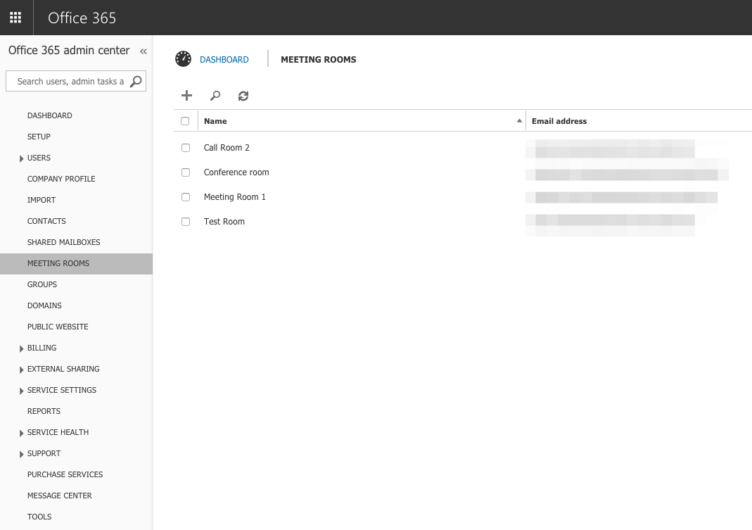 List all meeting room schedules in Office 365