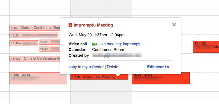 An automatically scheduled meeting via motion sensors