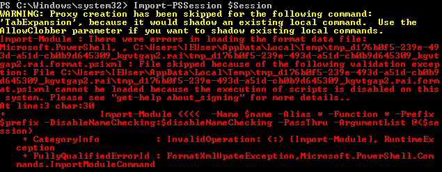 Powershell error when import session