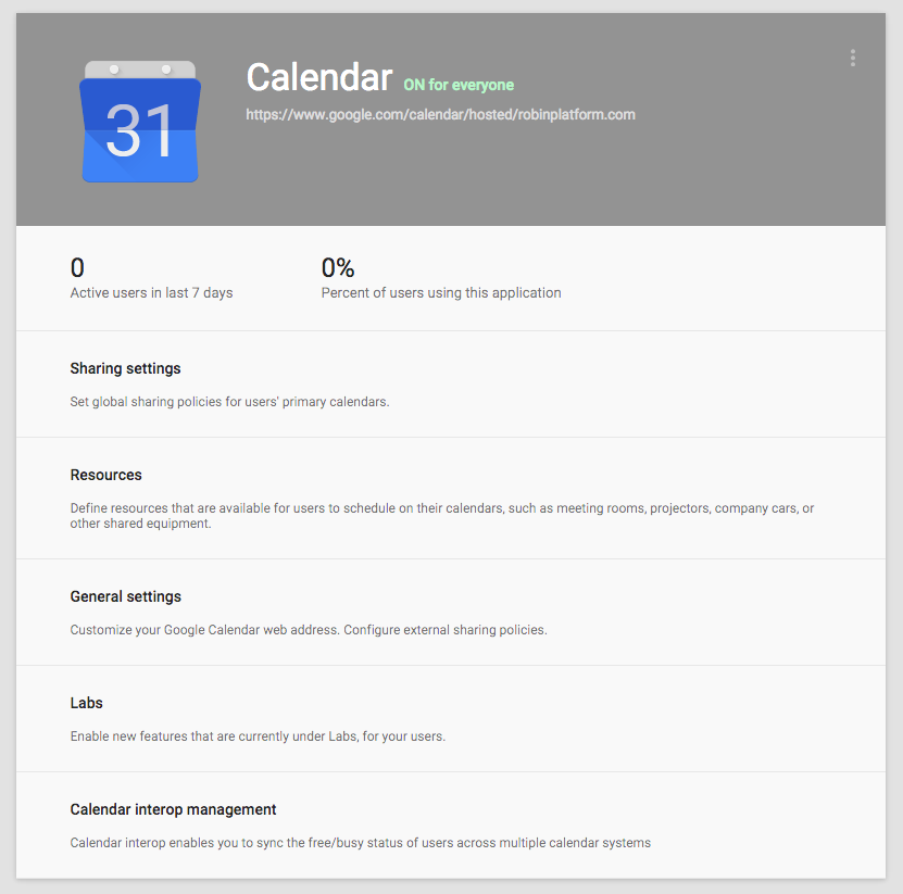 Calendars options in Google Apps
