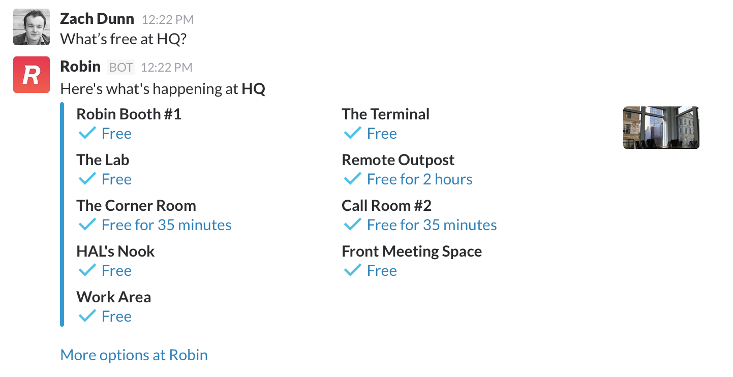 Check conference room calendars from within Slack