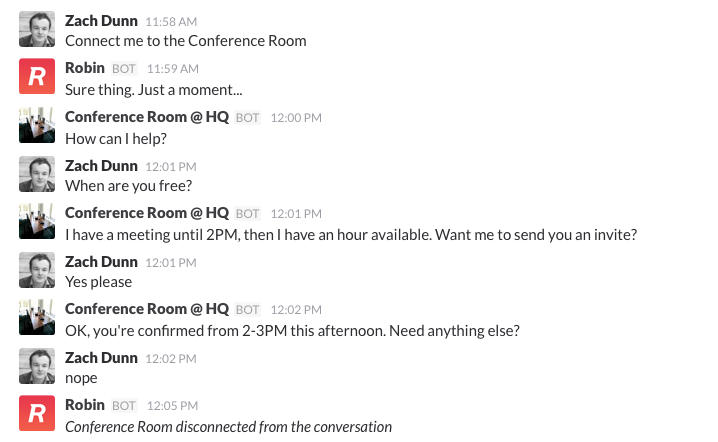 Talking directly to a room via Robin bot for offices