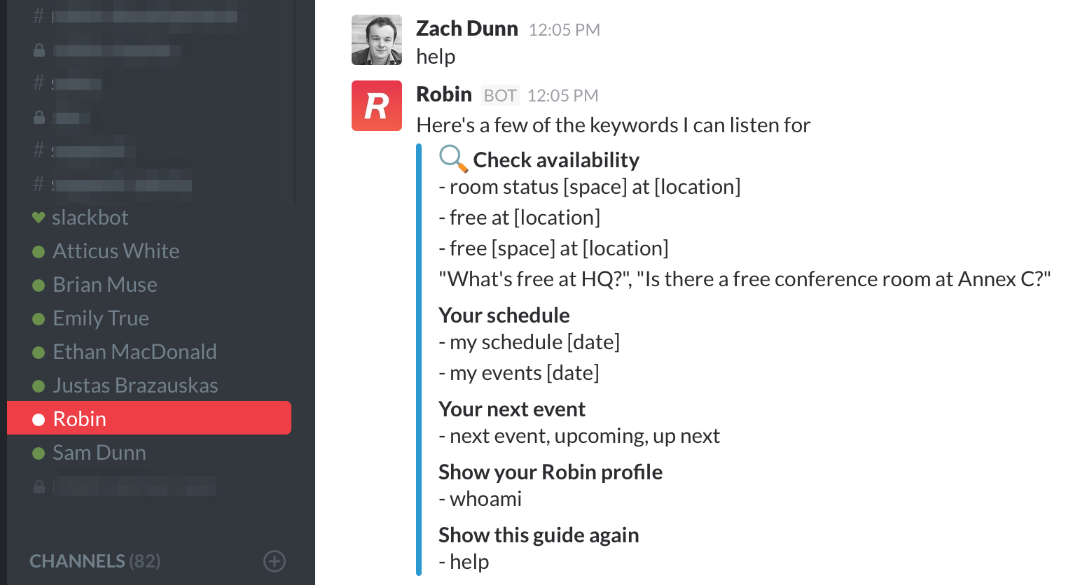 Robinbot Slack scheduling commands