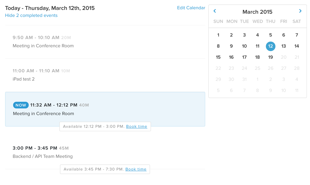 Advanced office scheduling with calendar view