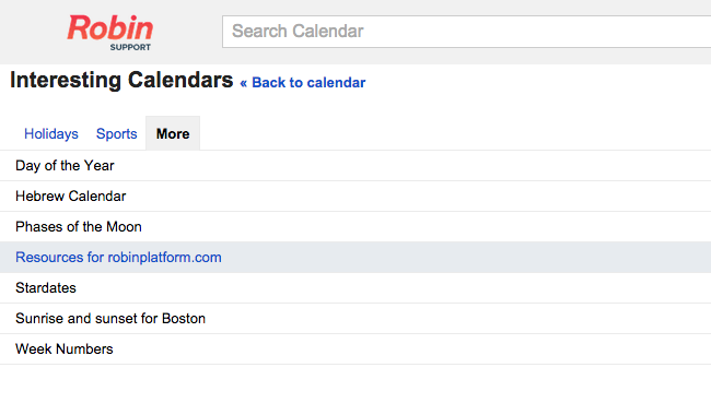 Where to find resource calendar schedules in Google