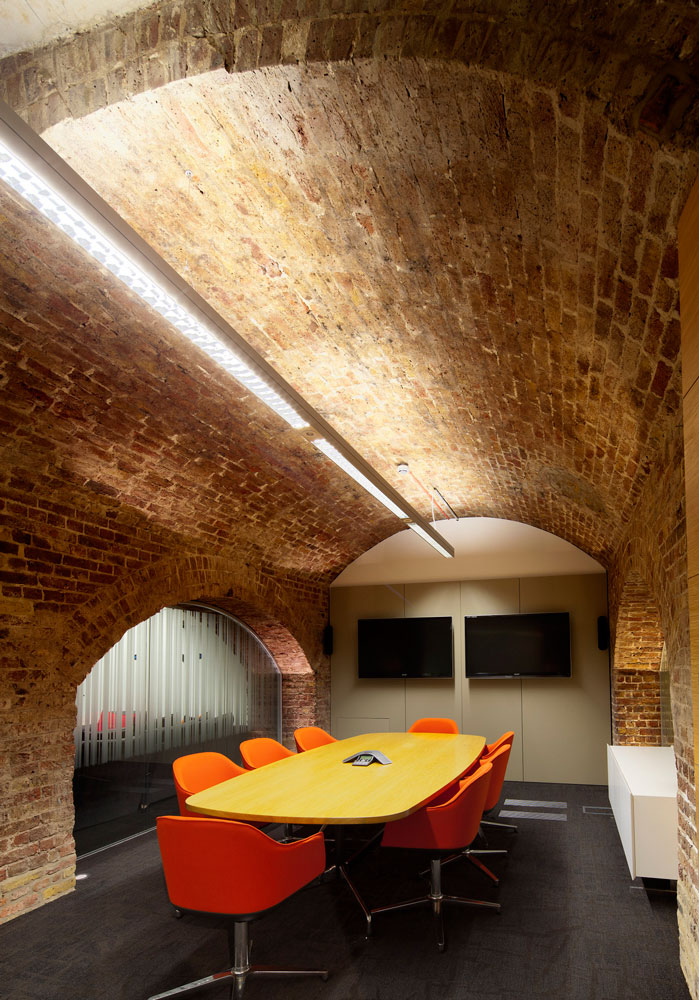 Brick archway over meeting room table